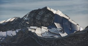 Destroyed metallic roof after hurricane